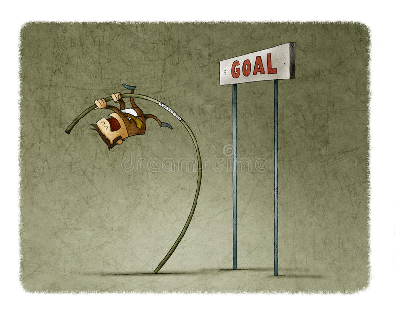 Businessman doing pole vaulting for jumping the goal. stock illustration