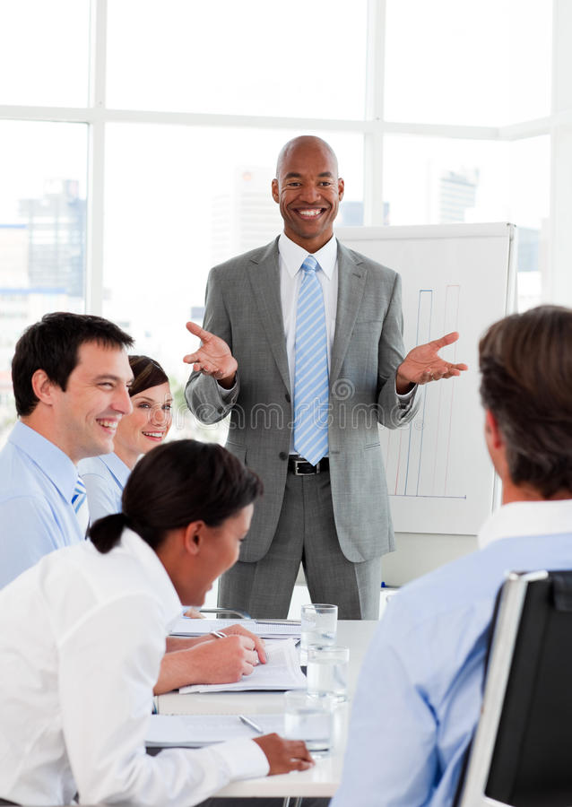 Businessman doing a presentation stock images