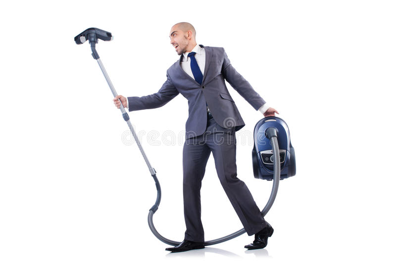 Businessman doing vacuum cleaning