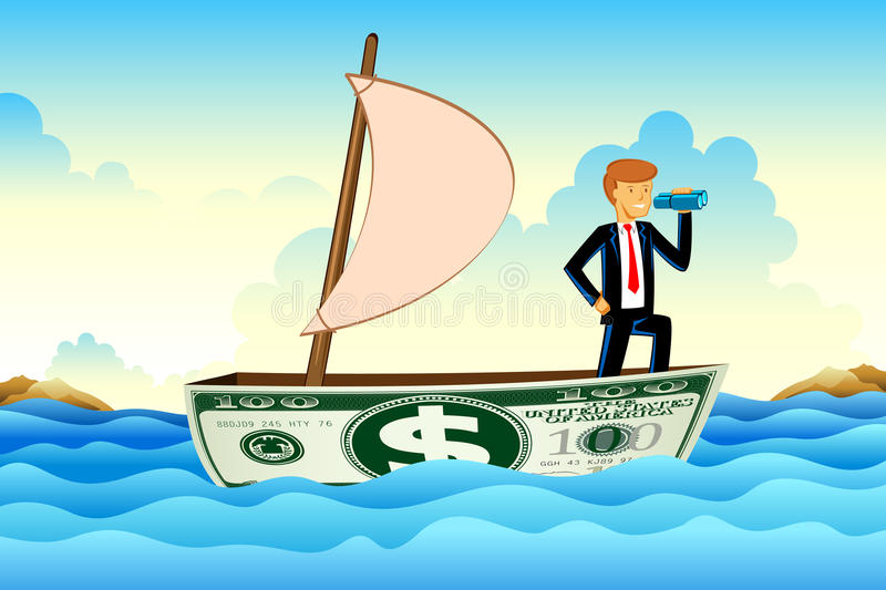 Businessman On Dollar Boat Royalty Free Stock Photo