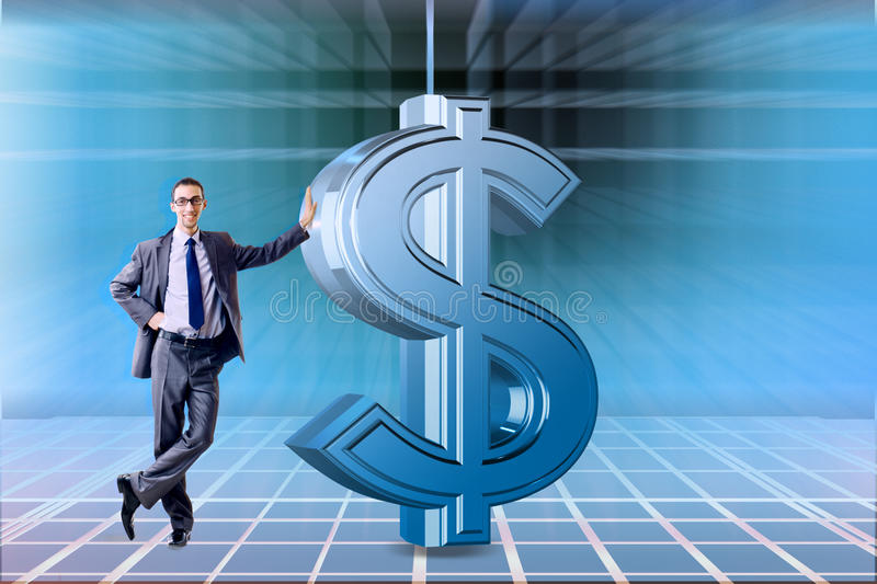 The businessman and dollar in business concept. Businessman and dollar in business concept stock photo