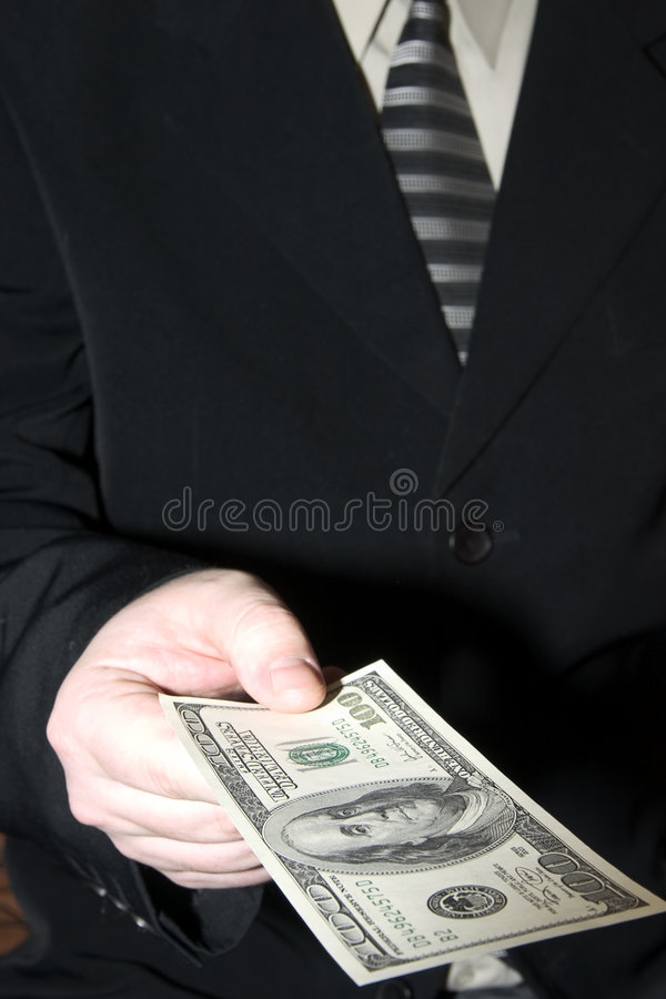 Businessman and dollars royalty free stock image