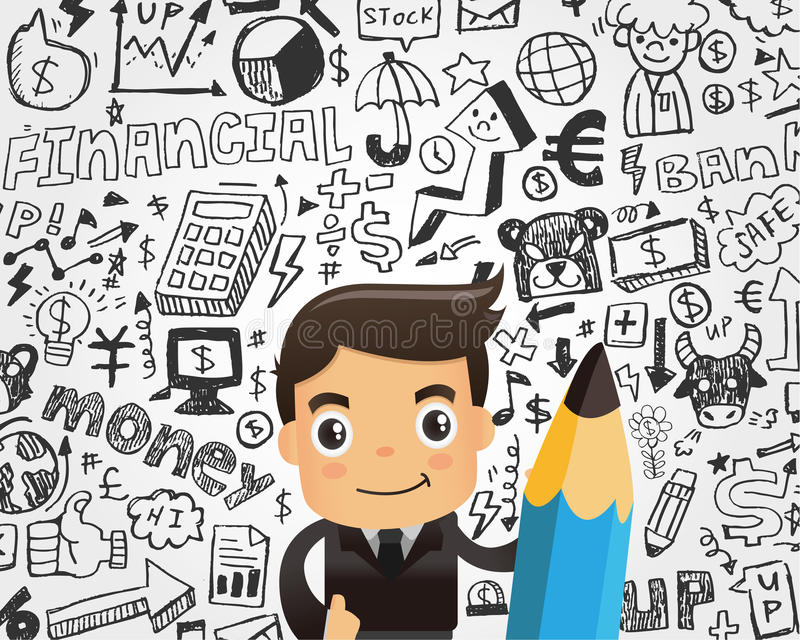 Businessman And Doodle Business Element Background Stock Photography