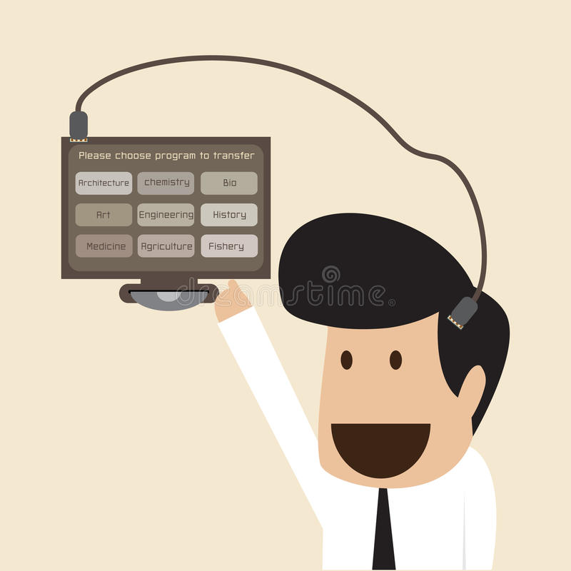 Download Businessman Download Data Into His Memory Head Stock Vector - Image: 33186313
