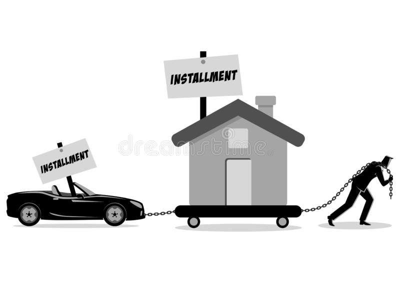 Businessman dragging a house and a convertible car stock image