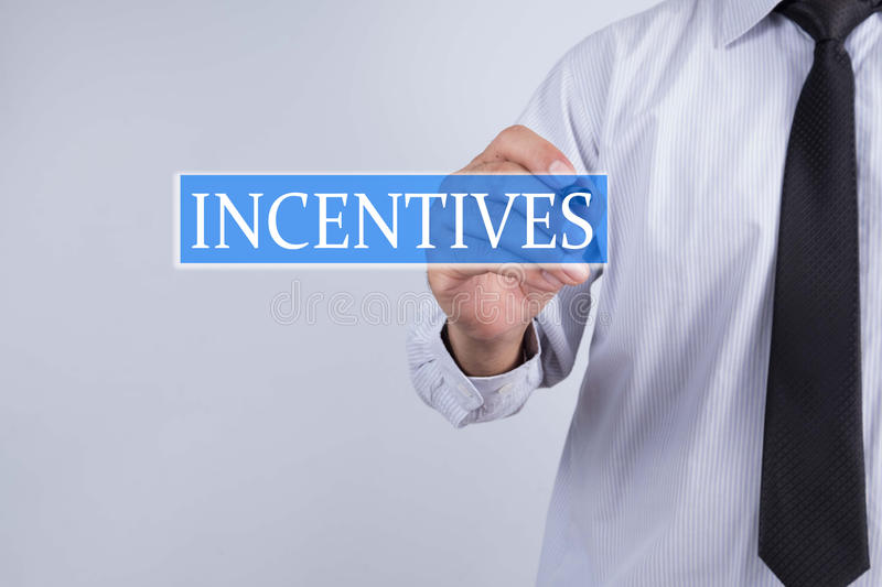 Businessman draw incentives concept stock photography