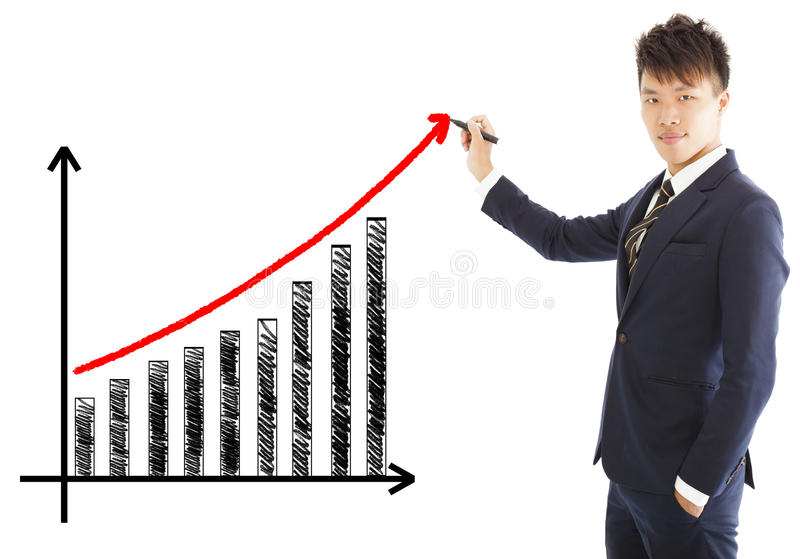 Businessman draw a marketing growth chart. Over white background stock images