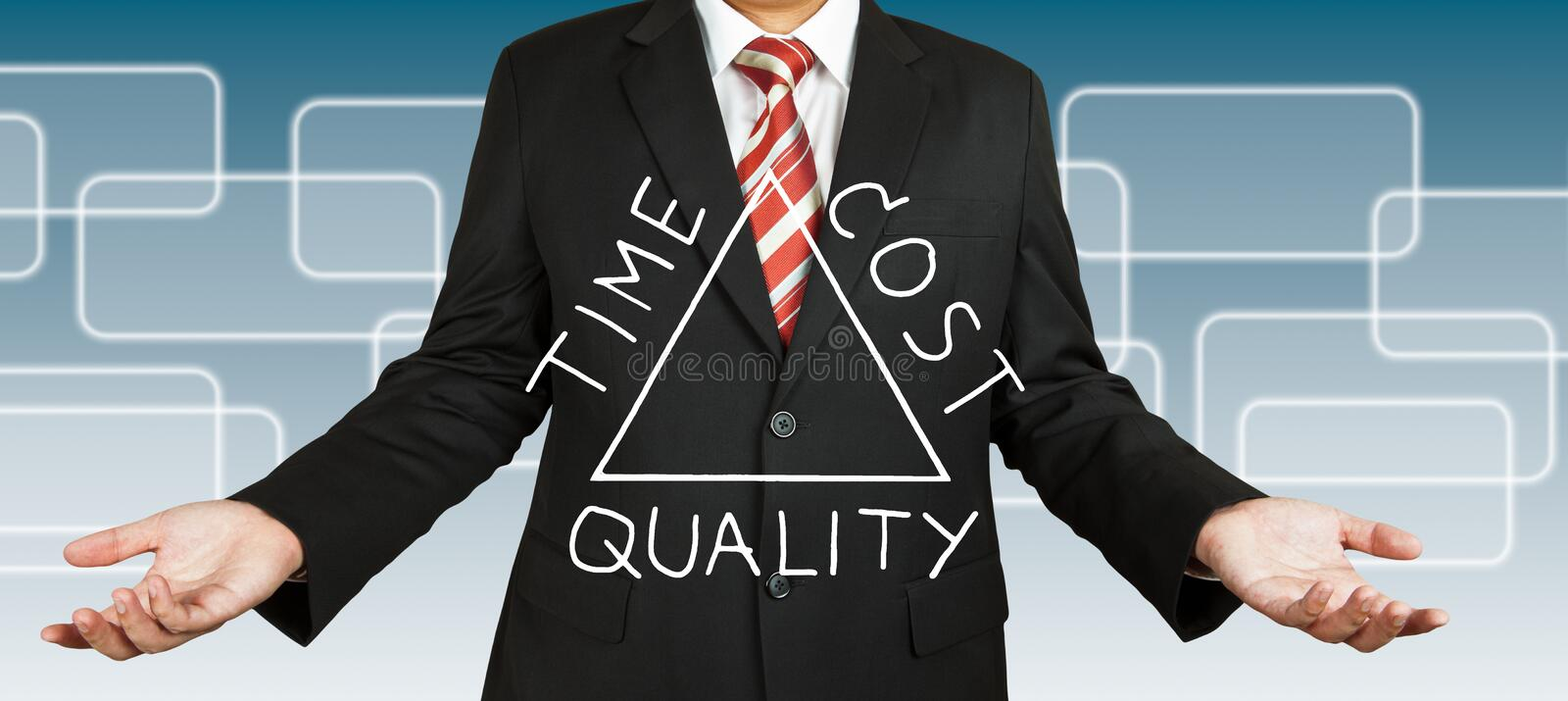 Businessman draw Time Cost and Quality concept. On triangle stock photos