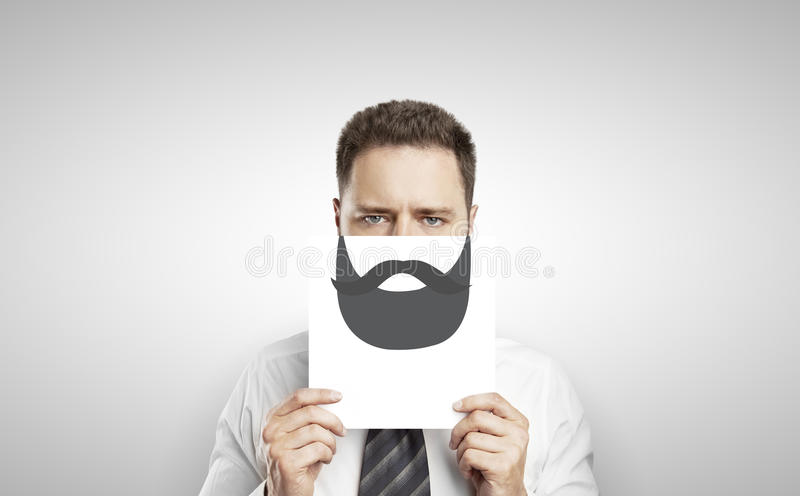 Download Businessman With Drawing Beard Stock Photo - Image of artwork, bigwig: 32552890