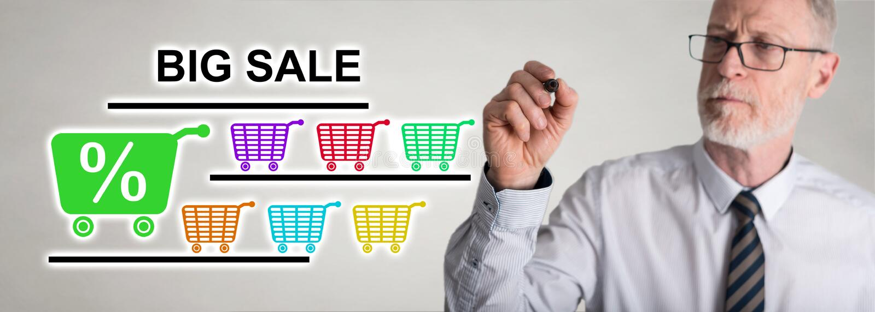 Businessman drawing big sale concept stock photo