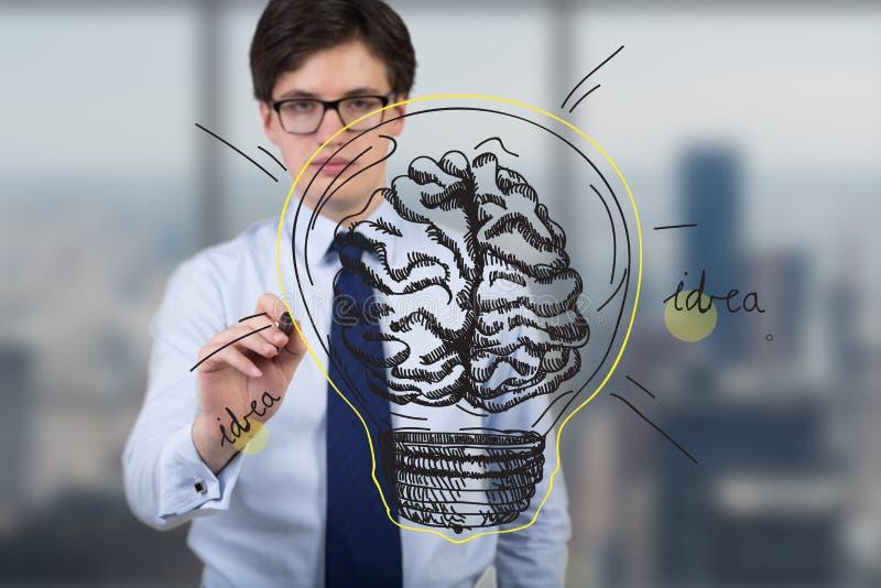 Businessman drawing brain lamp royalty free stock photo