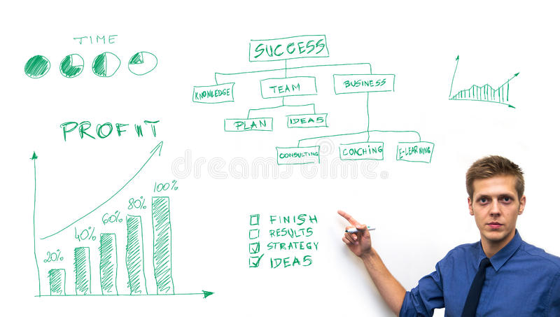 Businessman drawing business concept on whiteboard stock photo