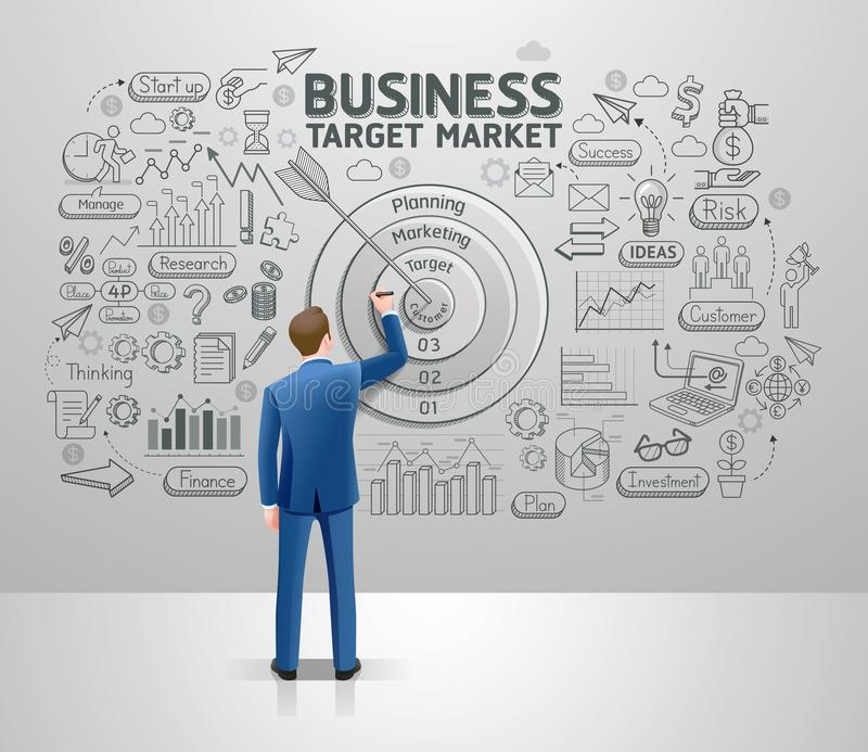 Businessman drawing business idea target market on wall. Graphic doodles vector illustration vector illustration
