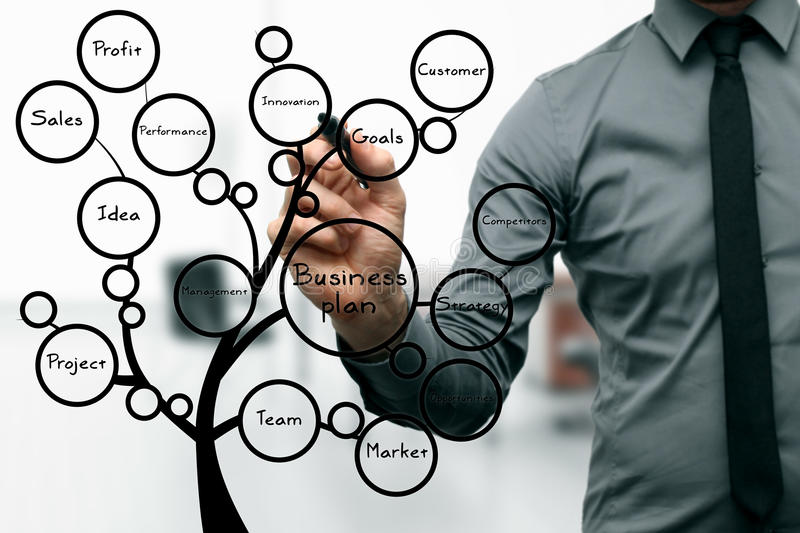 Businessman drawing business plan tree stock images