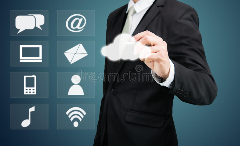 Businessman drawing cloud computing network technology connectivity. On drak background royalty free stock image