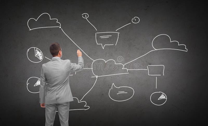 Businessman drawing cloud computing scheme stock photo