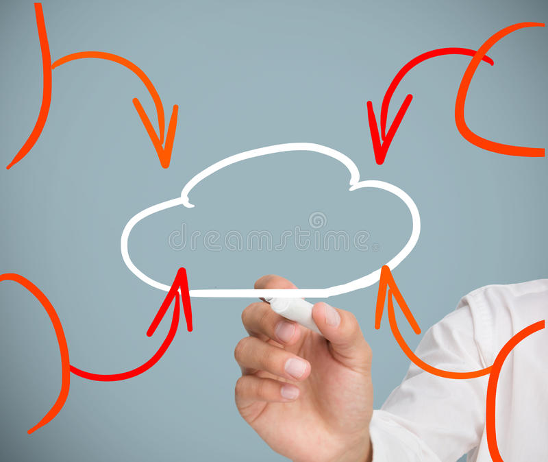 Businessman Drawing Cloud Royalty Free Stock Photo