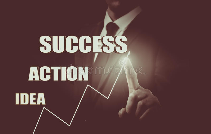 Businessman drawing the concept of business development from idea to success. Growth statistics stock photos