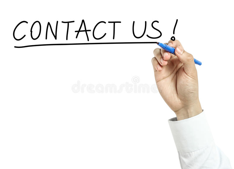 Businessman drawing contact us concept royalty free stock images