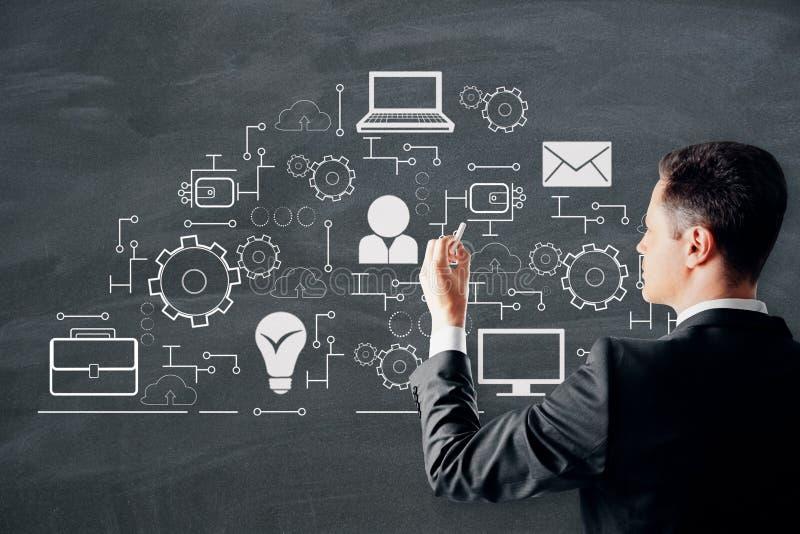 Creative digital network sketch. Businessman drawing creative digital network sketch on dark background. Innovation and cloud computing concept stock illustration