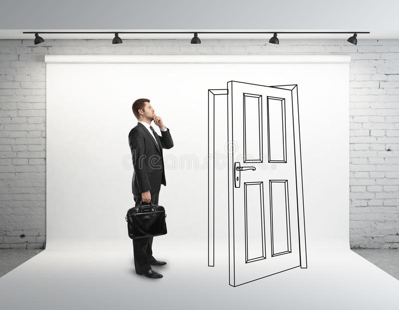 Businessman and drawing door vector illustration