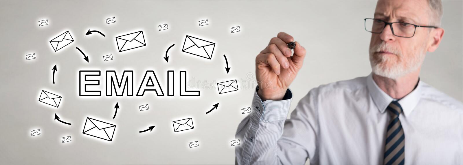 Businessman drawing email concept stock photos