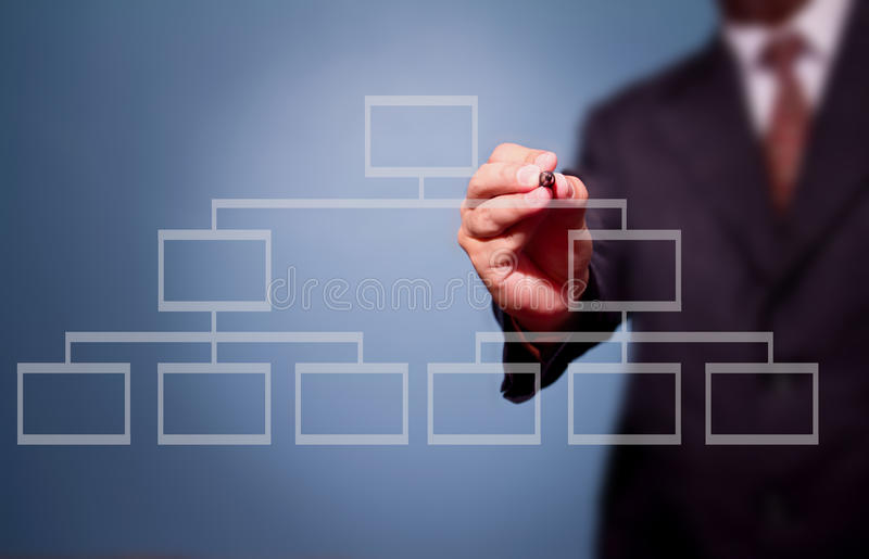 Businessman drawing a flowchart. On a whiteboard (selective focus royalty free stock photography