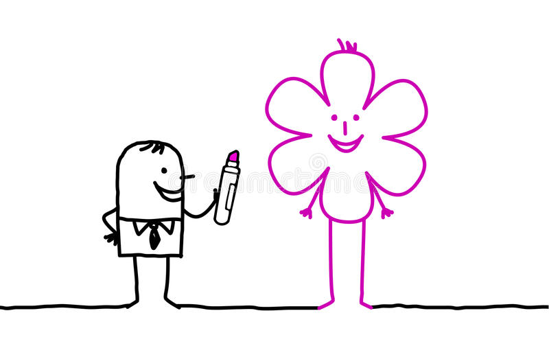 Businessman drawing flower vector illustration