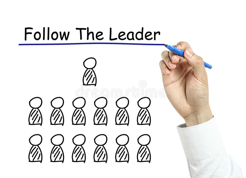 Businessman drawing follow the leader concept royalty free stock photography