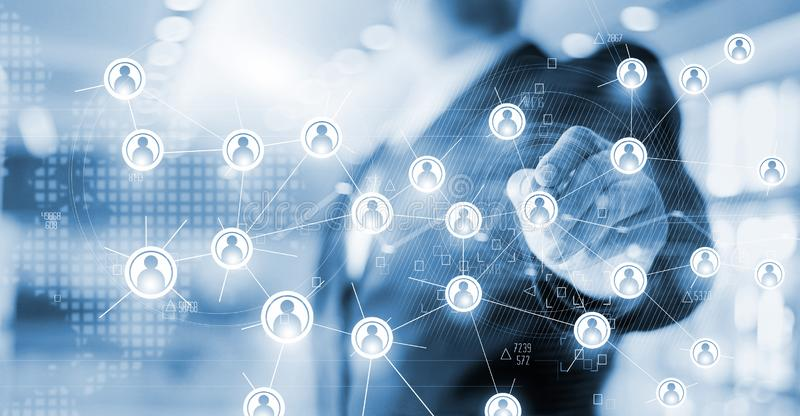 Businessman drawing global structure network and data exchange stock images