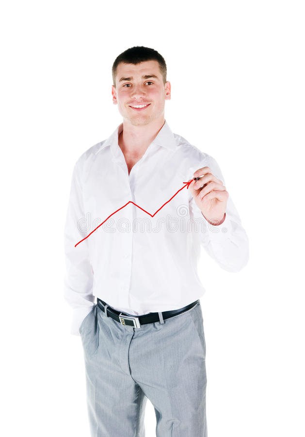 Download Businessman drawing  graph stock photo. Image of arrow - 14402118