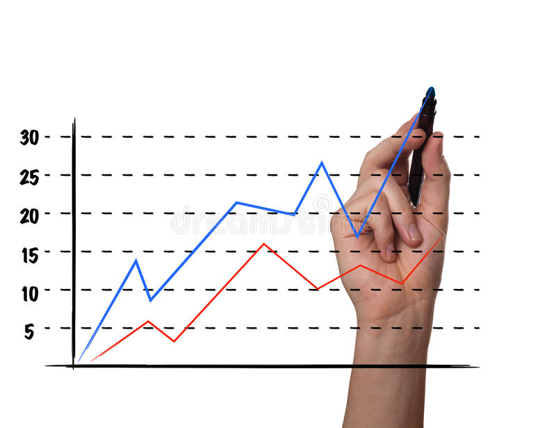 Businessman drawing a graph on a glass screen stock illustration