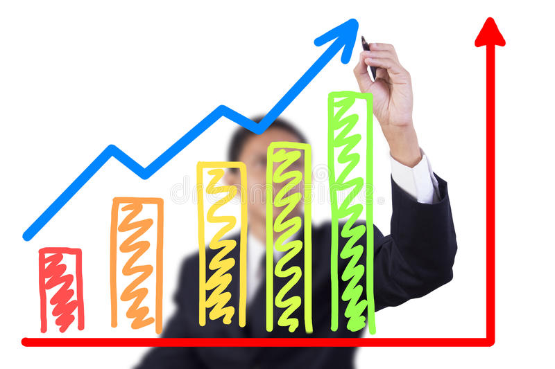 Download Businessman Drawing Graph Grow Stock Image - Image: 26835907