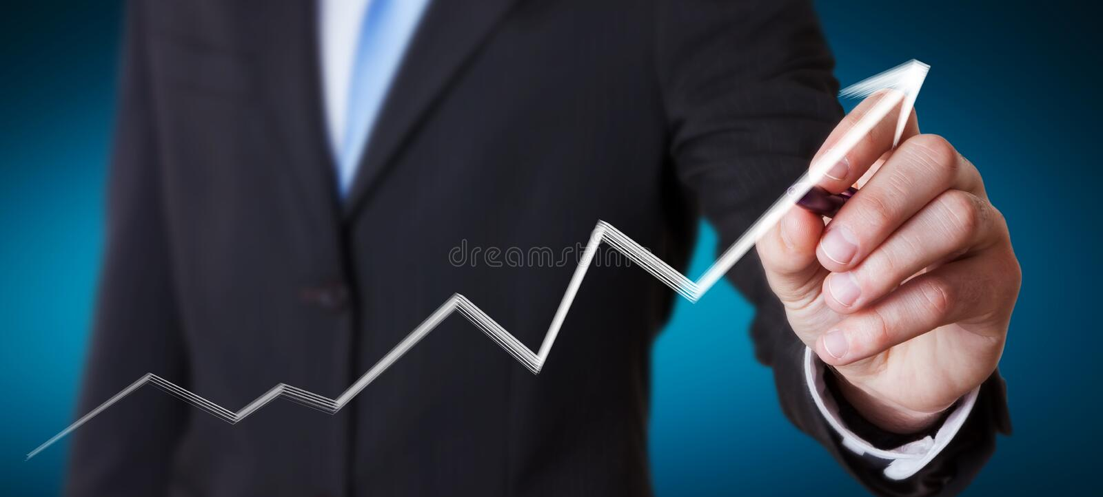 Businessman drawing hand-drawn arrow going up stock illustration