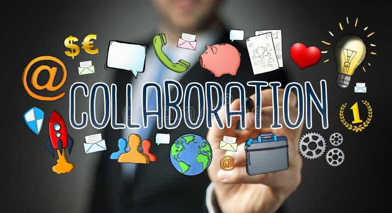 Businessman drawing hand-drawn collaboration presentation vector illustration