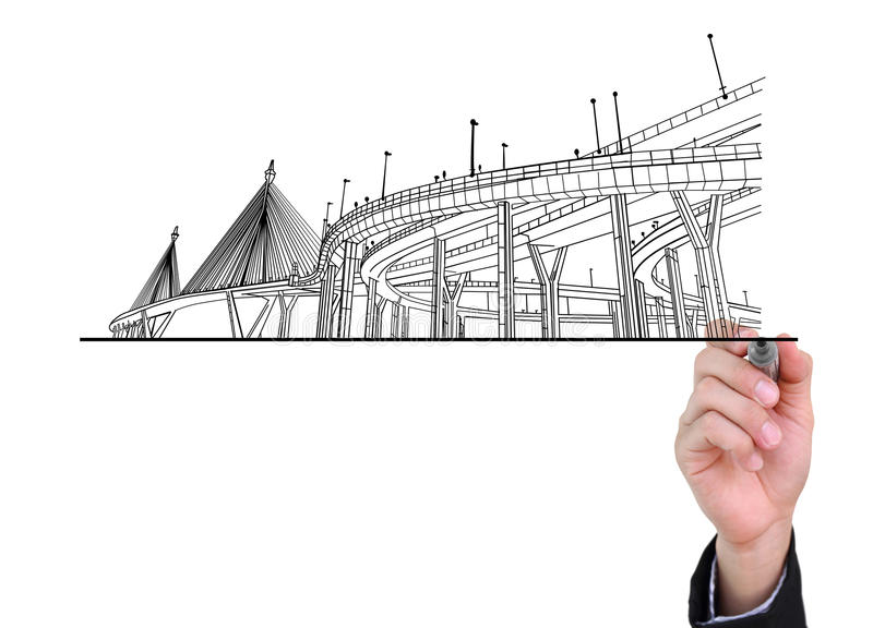 Businessman drawing highways. Businessman drawing highways isolated on white background royalty free illustration