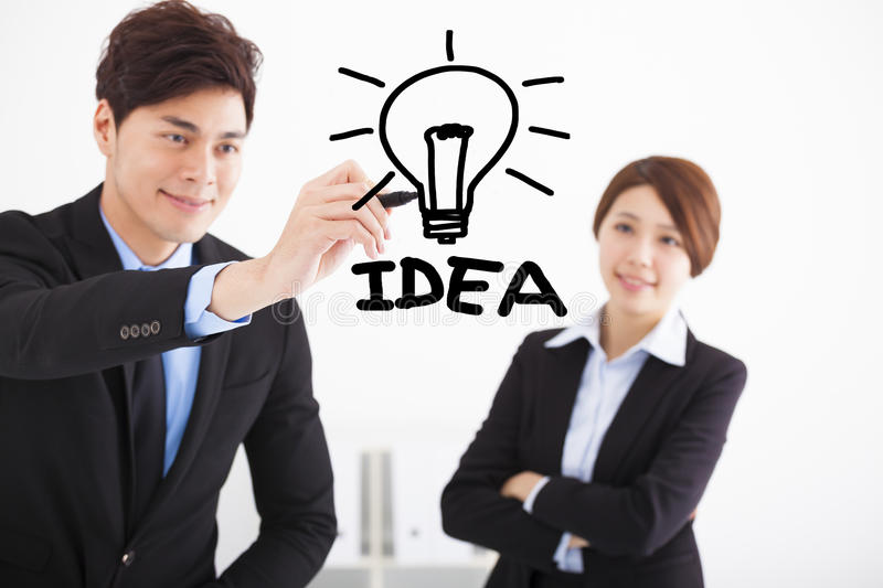 Businessman drawing idea for business concept stock images