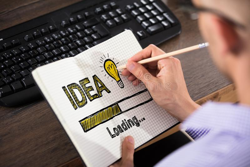 Businessman Drawing Idea Concept In Office stock photos