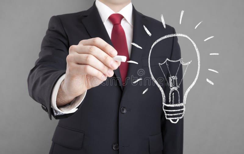 Businessman drawing idea light bulb royalty free stock image