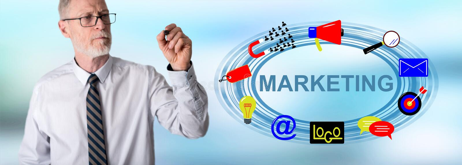 Businessman drawing marketing concept royalty free stock image