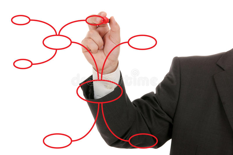 Businessman drawing a mind map. Isolated royalty free stock photos
