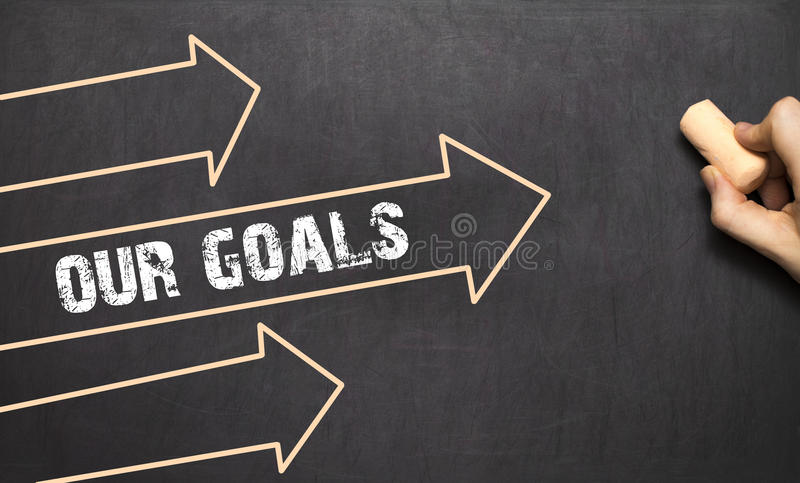 Download A Businessman Is Drawing Our Goals Concept With Arrows Stock Image - Image: 83703971