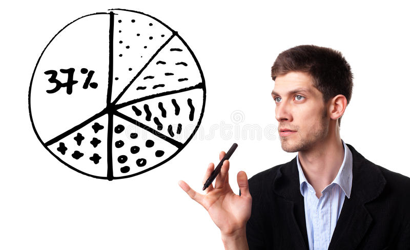 Businessman drawing pie chart in whiteboard. Isolated on white royalty free stock photos