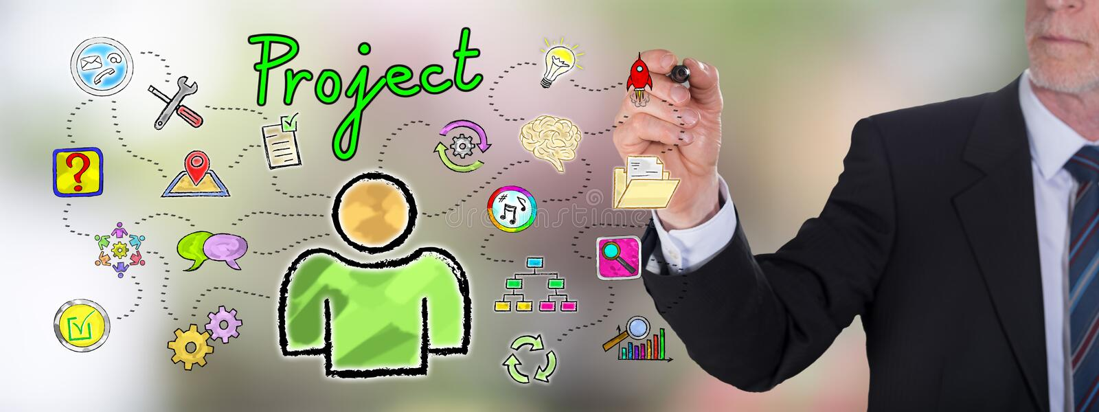 Project concept drawn by a businessman royalty free stock photography