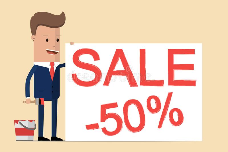 Businessman is drawing `Sale 50% `, he is inviting to big sale, discounts, low prices. Vector illustration.  vector illustration