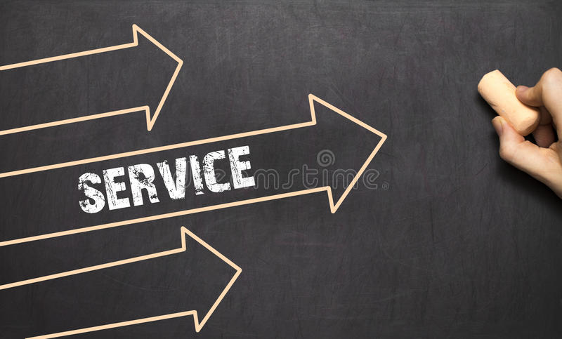 Download A Businessman Is Drawing Service Concept With Arrows Stock Image - Image: 83703773