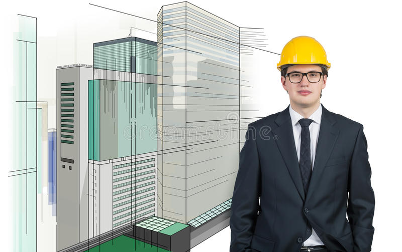 Businessman and drawing skyscraper royalty free stock photos