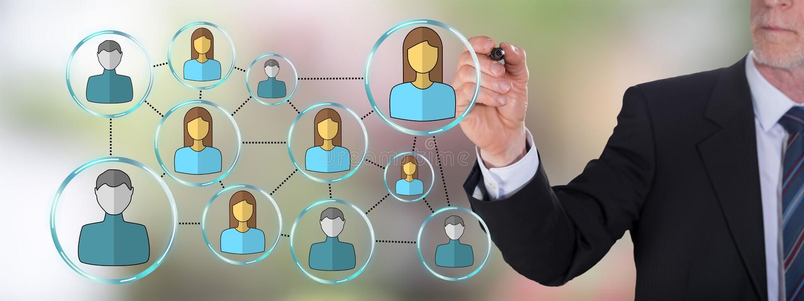 Social network concept drawn by a businessman royalty free stock photography