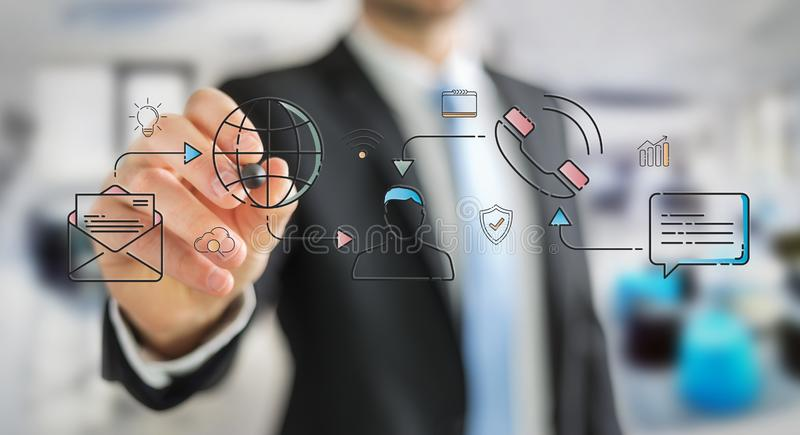 Businessman drawing thin line social network icons interface. Businessman on blurred background drawing thin line social network icons interface vector illustration