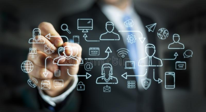 Businessman drawing thin line social network icons interface. Businessman on blurred background drawing thin line social network icons interface stock illustration